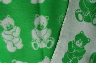 Baby-/kinderdeken met berendessin, 100% wol, groen/wolwit