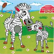 Puzzel zebra met jong