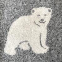 Wollen plaid met ijsberendessin, grijs/wolwit