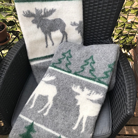 Kerstplaid met elanden, 100% wol, grijs/groen/wolwit