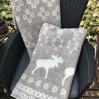 Kerstplaid met elanden, 100% wol, beige/wolwit