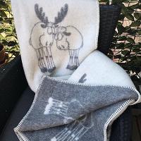 Kerstplaid met knuffelende elanden, 100% wol, grijs/wolwit