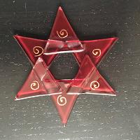 Ster van glas, rood met spiraal