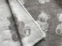 Baby-/kinderdeken met berendessin, 100% wol, beige/wolwit