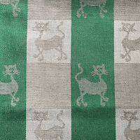 Theedoek met kattendessin - groen