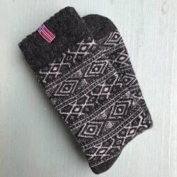 Wollen sokken - Noors motief - donkergrijs