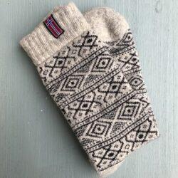Wollen sokken - Noors motief - wolwit