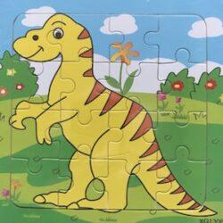 Dinosaurus - puzzel van hout - 16 stukjes