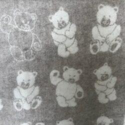 Babydeken / kinderplaid met berendessin - beige/wolwit