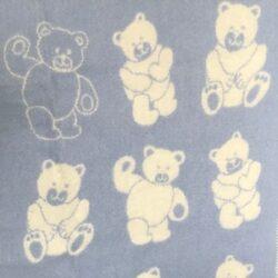 Babydeken / kinderplaid met berendessin - blauw/wolwit