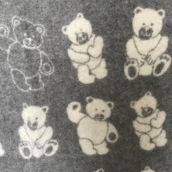babydeken / kinderplaid met berendessin - grijs/wolwit