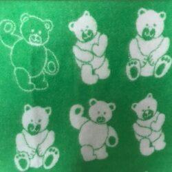 Babydeken / kinderplaid met berendessin - groen/wolwit