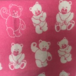 Babydeken / kinderplaid met berendessin - roze/wolwit